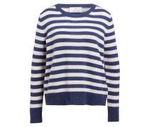 Cashmere-Pullover - weiss/ blau gestreift