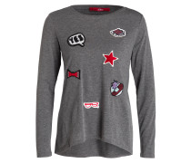 Longsleeve mit Patches - grau