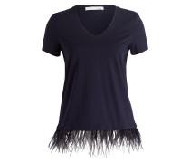 T-Shirt mit Federsaum - dunkelblau