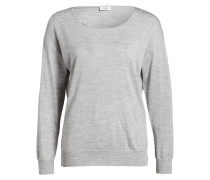 Wollpullover mit Seidenanteil - grau