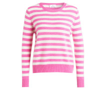 Cashmere-Pullover - weiss/ pink gestreift