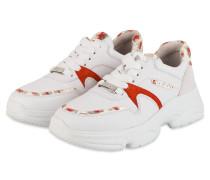 Plateau-Sneaker - WEISS/ ROT
