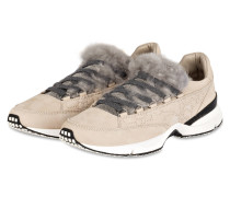 Sneaker mit Fellbesatz - sand