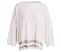 Cashmere-Pullover mit 3/4-Arm - wollweiss