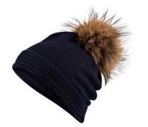 Cashmere-Mütze mit Pelzbommel - navy