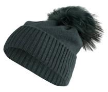 Cashmere-Mütze mit Fellbommel - grün