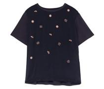 Blusenshirt mit Perlenbesatz im Materialmix