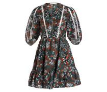 Kleid RUBIK - grün/ rot/ weiss