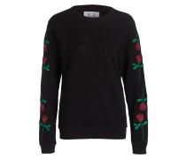 Pullover mit Stickerei - schwarz