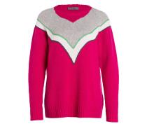 Wollpullover - pink/ grau/ weiss