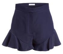 Shorts mit Leinenanteil - blau