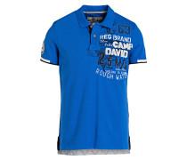 Piqué-Poloshirt - blau/ weiss
