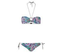 Bandeau-Bikini - lila/ weiss/ schwarz
