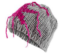 Strickmütze - grau/ pink
