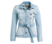 Jeansjacke mit Patches - denim blue