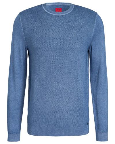 Schurwoll-Pullover - blau meliert