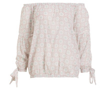 Off-Shoulder-Bluse - ecru/ türkis/ mauve