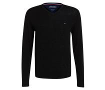 Lambswool-Pullover - schwarz