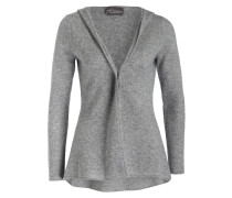 Cashmere-Cardigan mit Kapuze - grau