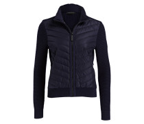Strickjacke im Materialmix - navy
