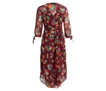 Kleid im Materialmix - weinrot