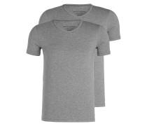 2er-Pack V-Shirts - grau meliert