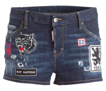 Jeans-Shorts mit Patches - blau