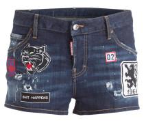 Jeans-Shorts mit Patches - blau