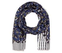 Schal mit Seidenanteil - blau