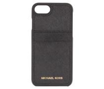 iPhone-Hülle aus Saffiano-Leder - schwarz