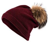 Cashmere-Mütze mit Pelzbommel - bordeaux
