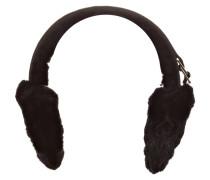 Ohrenschützer mit Fellbesatz - schwarz