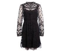 Kleid mit Florale Stickereien - schwarz