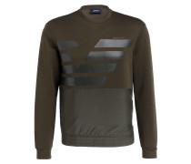 Sweatshirt im Materialmix - oliv