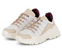 Plateau-Sneaker - CREME/ DUNKELROT