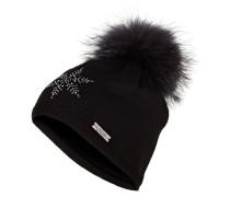 Mütze mit Pelzbommel - schwarz