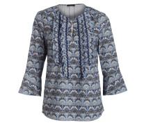 Bluse mit  3/4-Arm - blau/ khaki/ beige