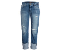 Destroyed-Jeans ROLL UP - blau