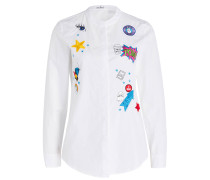 Bluse mit Patches - weiss