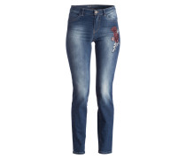 Jeans mit Stickereien - blue denim