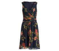 Kleid in Wickeloptik - navy/ grün/ rot