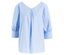 Bluse mit 3/4-Arm - blau/ weiss gesteift