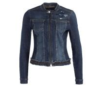 Jeansjacke mit Paillettenbesatz - blau