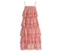 Kleid mit Volant - altrosa