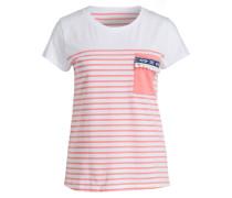 T-Shirt - apricot/ weiss gestreift