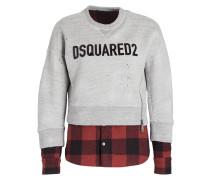 Sweatshirt - grau/ schwarz/ rot