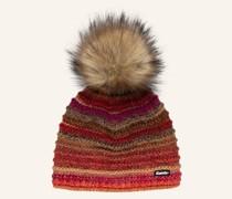 Mütze MIKATA LUX mit Kunstpelzbommel