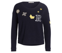 Pullover mit Patches - navy