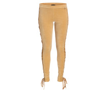 Samt-Leggings - beige