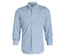 Hemd Shaped-Fit - weiss/ blau kariert
